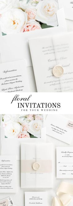 The Caroline wedding invitation suite is paired with Josephine florals. Josephine features white garden roses, silver dollar eucalyptus, and pink spray roses. #weddinginvitation