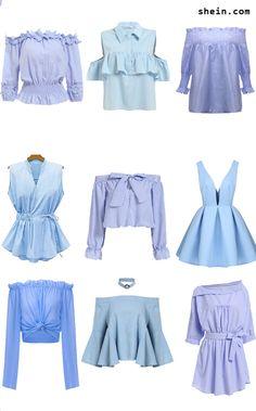 Paris vibes-blue blouse, blue off shoulder blouse top, blue peplum blouse, blue stripe top and blue blouse dress. From shein.com.
