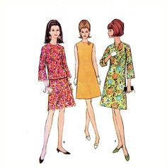 60s one piece dress sewing pattern McCalls 8624