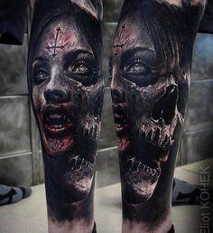 Unglaublich realistisches Tattoo mit atemberaubenden Effekten durch den Einsa… Incredibly realistic tattoo with stunning effects through the use of contrasts – Fusion Ink killer Evil Tattoos, Creepy Tattoos, Badass Tattoos, Skull Tattoos, Leg Tattoos, Body Art Tattoos, Sleeve Tattoos, Amazing Tattoos, Evil Skull Tattoo