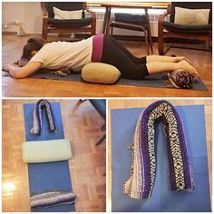 Get personal with your props. This supported, prone shape is a fav restorative pose of mine to traction my spine, create space between my… Get personal with your props. This supported, p Yoga Iyengar, Bikram Yoga, My Yoga, Vinyasa Yoga, Kundalini Yoga, Restorative Yoga Sequence, Yoga Sequences, Yin Yoga Benefits, Yoga Themes