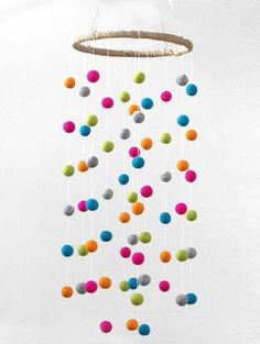 Large Colorful Felt Ball Nursery Mobile I am loving these bright and colorful felt balls for a little one's nursery or room! So stimulating and beautiful ♥ Felt Mobile, Baby Mobile, Crafts For Kids, Arts And Crafts, Diy Crafts, Summer Crafts, Pom Pom Crafts, Felt Ball, Valentine's Day Diy