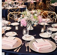 Navy & Blush table... Wedding ideas for brides, grooms, parents & planners ... https://itunes.apple.com/us/app/the-gold-wedding-planner/id498112599?ls=1=8 … plus how to organise an entire wedding ♥ The Gold Wedding Planner iPhone App ♥