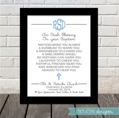 Personalized baby gift original irish baby blessing composed and baptismal irish blessing godparent gift by cocostinedesigns 1500 negle Choice Image