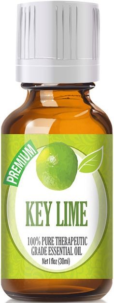 100% Pure Therapeutic Grade Key Lime Essential Oil Comes in an amber glass essential oil bottle. European Dropper Cap included. Rich in vitamin C with a strong citrus aroma, Key Lime essential oil is