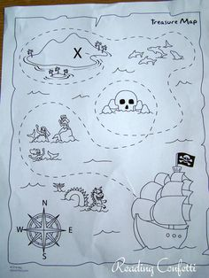 Printable Treasure Maps for preschool! Preschool Pirate Theme, Pirate Activities, Map Activities, Preschool Crafts, Activities For Kids, Treasure Maps For Kids, Pirate Treasure Maps, Pirate Maps, Map Crafts
