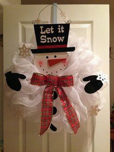 Let It Snow Deco Mesh Snowman by GlitzynDitzyDecoMesh on Etsy, $27.95
