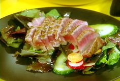 Seared Ahi Tuna and Salad of Mixed Greens with Wasabi Vinaigrette recipe from Rachael Ray. Cooked my tuna differently as I'm not a fan of seasoning, but the wasabi vinaigrette was a keeper! Lime Recipes, Tuna Recipes, Seafood Recipes, Cooking Recipes, Healthy Recipes, Wasabi Recipes, Delicious Recipes, Yummy Food, Vinaigrette
