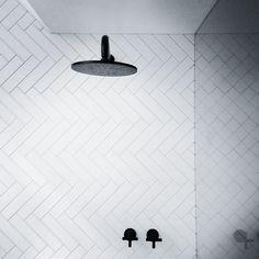 Herringbone tiling. Yes please. With black tapware - uber style.  #hillstreetalteration graphic taps and herringbone tiles.