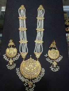 Indian Jewellery Pearl Gold Haar Necklace by KAJewelleryEmporium