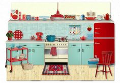 Kitchens Super kitchen colors vintage turquoise Ideas Ornaments To Decorate PVC And Wood Deck Railin Red Kitchen Decor, Turquoise Kitchen, Shabby Chic Kitchen, Kitchen Colors, Kitchen Styling, Rustic Kitchen, Vintage Kitchen, Kitchen Design, Kitchen Ideas