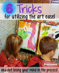 Does the art easel stress you out? Save your sanity with these handy art easel tricks and tips from a preschool teacher! Art Center Preschool, Preschool Arts And Crafts, Preschool Lesson Plans, Preschool Classroom, Classroom Ideas, Kindergarten, Classroom Design, Toddler Easel, Toddler Art