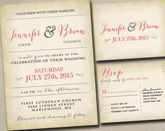 Wedding Invitation Invitations Invite Invites Announcement Announcements RSVP Cards Postcards vintage rustic Gray Grey Yellow Coral and Navy by SAEdesignstudio on Etsy