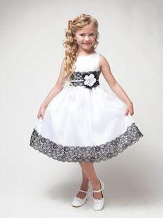 White Dress w/ Flower & Black Lace Detailing - Βαφτιστικό φόρεμα - Gowns For Girls, Little Girl Dresses, Girls Dresses, White Flower Girl Dresses, White Dress, Dress Black, Kids Frocks Design, Girl Dress Patterns, Frock Design