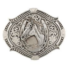Montana Silversmiths Horse Head in Horseshoe Silver Buckle