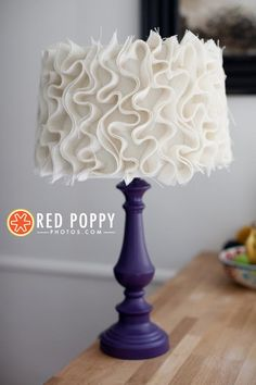 I love the look of this. Would be better with a black base.  DIY Ruffle : DIY Ruffle Lamp shade  :   for the playroom