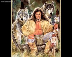 The Hunters by Maija { Native American brave with wolves }