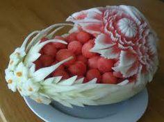 arte en frutas y verduras - sandia tallada