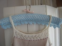 These pretty vintage-style coathanger covers are knitted lengthways in a simple lacey, textured stitch. The optional lace edging is knitted Crochet Doilies, Knit Crochet, Knitting Patterns, Crochet Patterns, Crochet Ideas, Sewing Hacks, Sewing Tips, Knitted Coat, Pattern Library