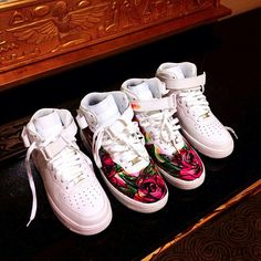 High cut Air Force 1's ALWAYS wanted a pair of roses!