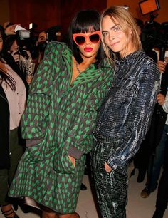 Cara and Rihanna backstage at Stella McCartney A/W 2014