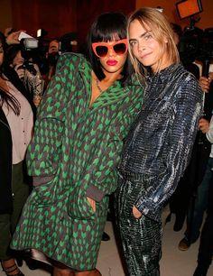 Cara and Rihanna backstage at Stella McCartney A/W 2014
