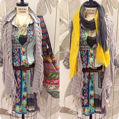 A boho chic mannequin styled by Luana from our Newport store #boho #chic #fashion #mannequin #style #scarf #tunic #color #print #pattern #outfit #myjohnnywas