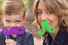 Mommy and me Photography with mustaches! So much fun and toddlers love this!