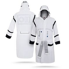 I got this Stormtrooper bath robe for Dan and he freaking loves it. It's terry cloth and pretty well made! But expensive...