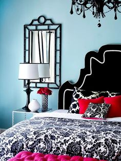 Aqua, red, black and white - thinking about this for our newlywed bedroom... He loves red, I love aqua and black - seems like a great fit!