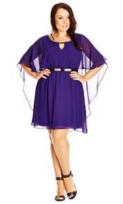 58e10d1065a09 Plus Size Belted Chiffon Capelet Dress City Chic Dresses