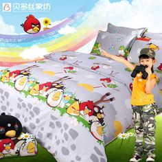 Angry Birds Gray Angry Birds Bedding Set