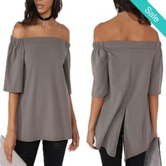 "IN STORE Ladies Off the Shoulder Gray Chiffon 3/4 Sleeve Blouse Top - AVAILABLE NOW IN STORE  $34.00 (was $45.99) NEW IN STORE ARRIVALS!! We are getting new things every day! Come shop with us Friday 10-7 & WE ARE OPEN ALL WEEKEND    MEMORIAL DAY! Memorial WEEKEND Sale - 25% off Clothing / 20% off Name Brands - 20% off Online with code ""memorial""   www.saliceshop.com"