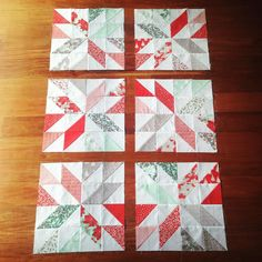 Christmas stars! Based on a #luckyquilt pattern but with #hunterstar quilt variations (i.e. 2 alternating star patterns) #showmethemoda #christmasquilt #christmassewing #modawinterberry #winterberryfabric #konasnow