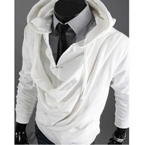 The item is a fashion casual coat for men, which has soft and comfortable material. Men's fashion occident hooded coat features long sleeves, zipper closure, slim style and novel design in front. It is not give you warm protection but can show your personal charm. * Name of item:Men's coat * Co...