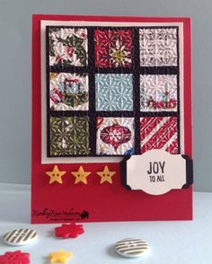 handmade Christms quilt crd from Rambling Rose Studio by Billie Moan  ... luv the embossing folder snowflake texture and wide black spaces between the squares  ... Stampin' Up!
