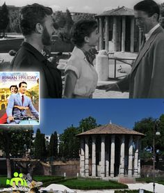 Romain Holiday (1953, Audrey Hepburn, Gregory Peck), Piazza della Bocca della Verità, Rome, Italy Gregory Peck, Filming Locations, Audrey Hepburn, Broadway Shows, Around The Worlds, Movies, Films, Cinema, Movie