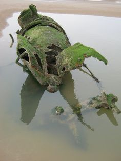 Remains of a wrecked submarine in  Aberlady Bay, Scotland.