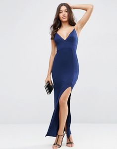 ASOS | ASOS Strappy Cami Maxi Dress with Side Split Stretch slinky fabric Plunge neckline Cami straps Thigh split Close-cut body-conscious fit Machine wash 95% Viscose, 5% Elastane