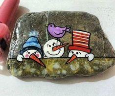 Pebble Painting, Pebble Art, Stone Painting, Diy Painting, Stone Crafts, Rock Crafts, Arts And Crafts, Fun Crafts, Christmas Rock