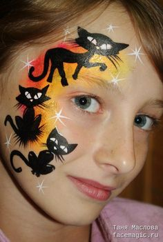 11 Amazing Halloween Face Painting Ideas for Kids - Jo Anna Ideas Maquillaje Carnaval, Black Cat Face Paint, Witch Face Paint, Cheek Art, Face Painting Designs, Animal Faces, Interesting Faces, Animal Paintings, Face Paintings