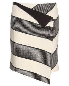 Rag & bone Striped Wrap Skirt in White (bone) | Lyst