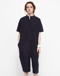 From Studio Nicholson, a casual cotton poplin jumpsuit with a modern cropped fit. Features a rounded collar, front button placket, left chest pocket, front pockets and cropped leg. Fashion Pants, Fashion Outfits, Womens Fashion, Studio Nicholson, Shabby Look, Androgynous Fashion, Urban Outfits, Simple Outfits, Jumpsuits For Women