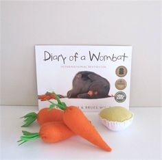 Diary Of a Wombat Book and Story Telling Set Play Food Set, Felt Play Food, Paperback Books, Children's Books, Good Books, Wombat Stew, Book Week, Reading Time, Children With Autism