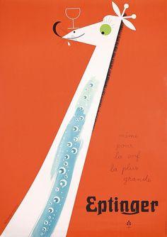 ORIGINAL 1940s Herbert Leupin Eptinger Giraffe Poster