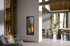 Gas fireplace / double-sided / closed hearth / contemporary VERTICAL BELL M. TUNNEL 3 Bellfires