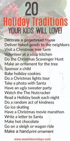 Christmas Traditions for kids. Holiday Bucket listt of fun family activities. @=#christmascrafts #holidays #christmas #bucketlist