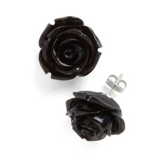 Retro Rosie Earrings in Black ❤ liked on Polyvore