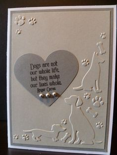 Your place to buy and sell all things handmade Handmade Dog Sympathy Card, Pet Sympathy<br> Scrapbooking, Scrapbook Cards, Pet Sympathy Cards, Greeting Cards, Hand Gestempelt, Card Sentiments, Embossed Cards, Marianne Design, Animal Cards