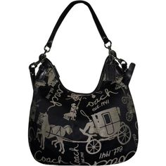 133705eb241 Pre-owned Coach Horse   Logo   Sateen. Hobo Bag ( 120) ❤ liked on Polyvore  featuring bags, handbags, shoulder bags, black and silver, pre owned  handbags, ...